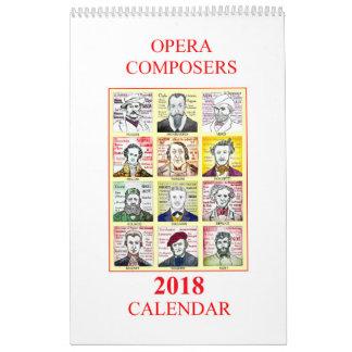 2018 OPERA COMPOSERS wall calendar