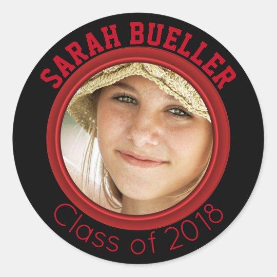 2018 Red Black Graduation Photo Name Class Year Classic Round Sticker
