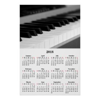 2018 Wall Calendar Beautiful Music Piano Poster