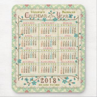 2018 Year Calendar Victorian Art Nouveau | Custom Mouse Pad