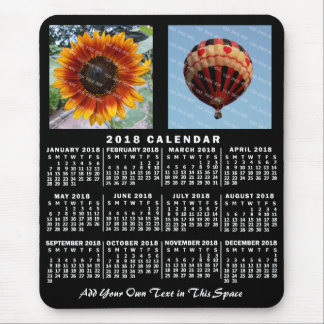 2018 Year Monthly Calendar Black Custom 2 Photos Mouse Pad