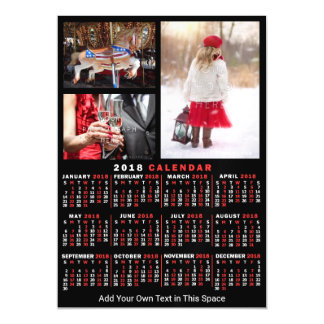 2018 Year Monthly Calendar Black Custom 3 Photos Magnetic Card
