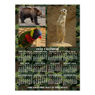 2018 Year Monthly Calendar Camouflage Add 3 Photos Poster