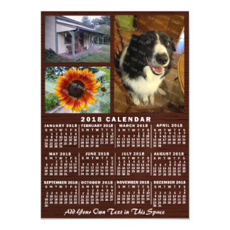 2018 Year Monthly Calendar Wood Custom 3 Photos Magnetic Card