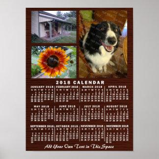2018 Year Monthly Calendar Wood Custom 3 Photos Poster