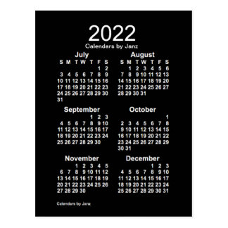 2022 Neon White 6 Month Mini Calendar by Janz Postcard
