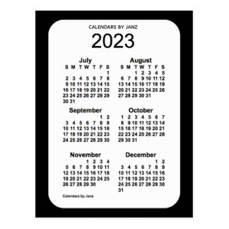 2023 Black 6 Month Mini Calendar by Janz Postcard