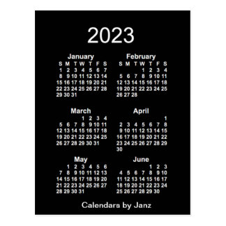 2023 Neon White 6 Month Mini Calendar by Janz Postcard