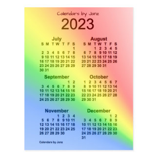 2023 Rainbow 6 Month Mini Calendar by Janz Postcard