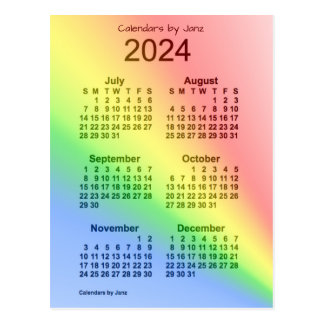 2024 Rainbow 6 Month Mini Calendar by Janz Postcard