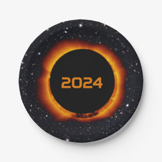 2024 Total Solar Eclipse Date Starry Sky Paper Plate