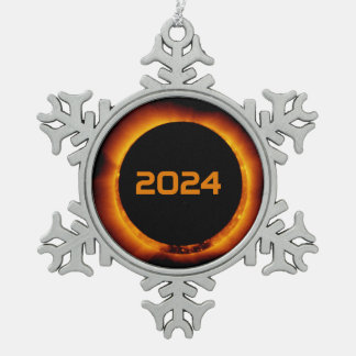 2024 Total Solar Eclipse Date Starry Sky Snowflake Pewter Christmas Ornament