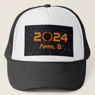 2024 Total Solar Eclipse Date Starry Sky Trucker Hat