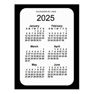 2025 Black 6 Month Mini Calendar by Janz Postcard