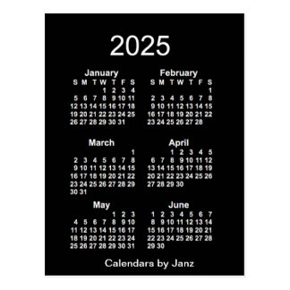 2025 Neon White 6 Month Mini Calendar by Janz Postcard