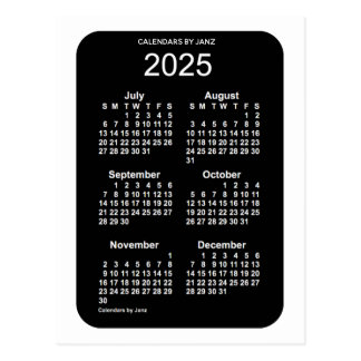 2025 White Neon 6 Month Mini Calendar by Janz Postcard