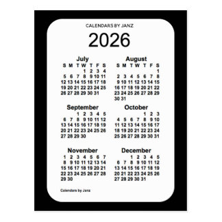 2026 Black 6 Month Mini Calendar by Janz Postcard