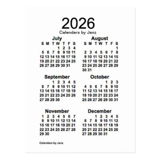 2026 White 6 Month Mini Calendar by Janz Postcard