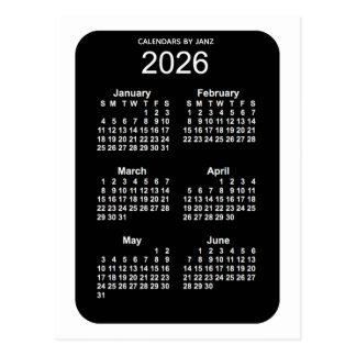 2026 White Neon 6 Month Mini Calendar by Janz Postcard