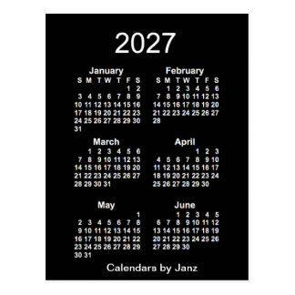 2027 Neon White 6 Month Mini Calendar by Janz Postcard