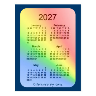 2027 Rainbow Blue 6 Month Mini Calendar by Janz Postcard