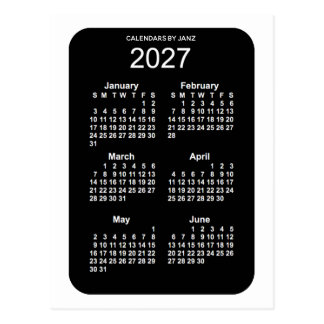 2027 White Neon 6 Month Mini Calendar by Janz Postcard