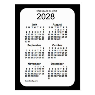 2028 Black 6 Month Mini Calendar by Janz Postcard