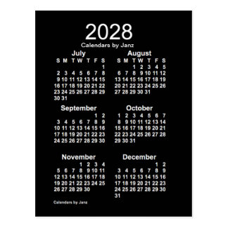 2028 Neon White 6 Month Mini Calendar by Janz Postcard
