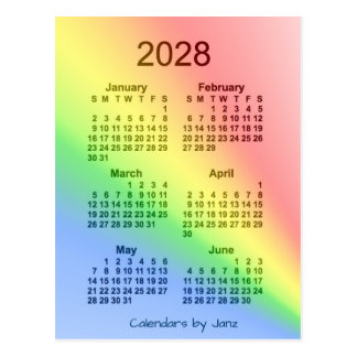 2028 Rainbow 6 Month Mini Calendar by Janz Postcard