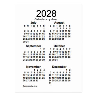 2028 White 6 Month Mini Calendar by Janz Postcard
