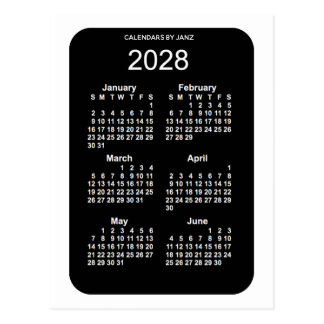 2028 White Neon 6 Month Mini Calendar by Janz Postcard