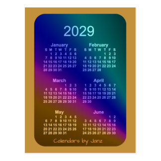 2029 Aurora Gold 6 Month Mini Calendar by Janz Postcard