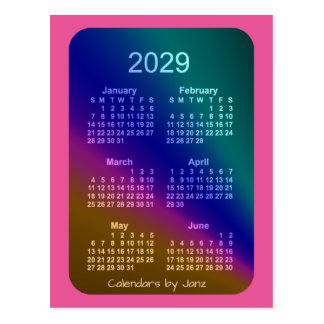 2029 Aurora Pink 6 Month Mini Calendar by Janz Postcard
