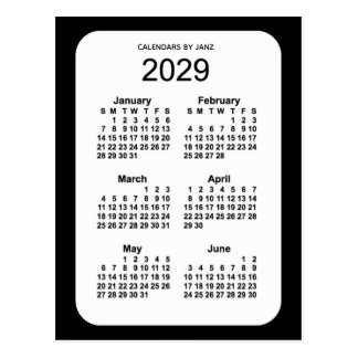 2029 Black 6 Month Mini Calendar by Janz Postcard