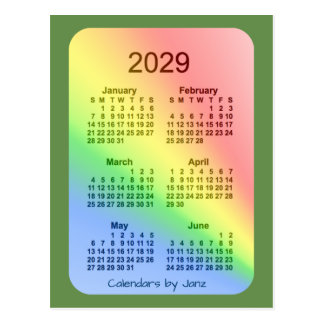 2029 Rainbow Green 6 Month Mini Calendar by Janz Postcard