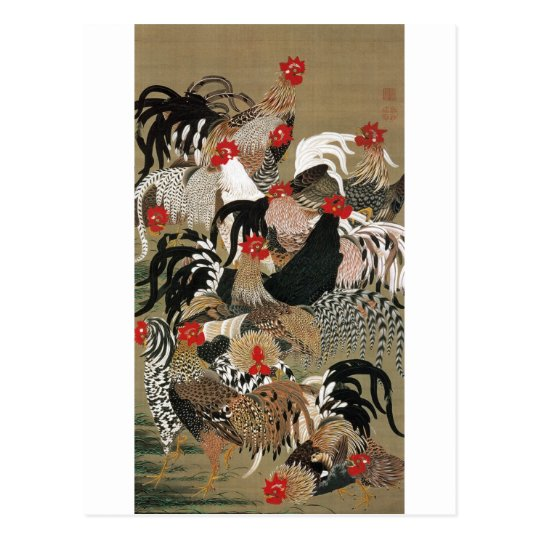 20. 群鶏図, 若冲 Flock of Roosters, Jakuchu Postcard