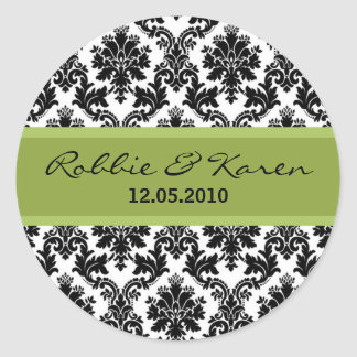 "20 - 1.50"" Black Damask & Green Favor Stickers"