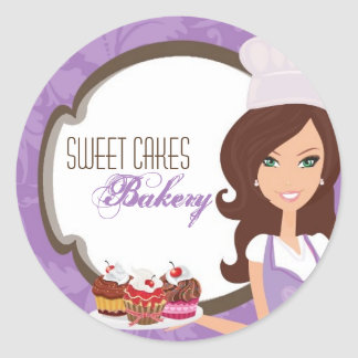 "20 - 1.5""  Brunette Baker Purple Cup Cakes Bakery Round Sticker"