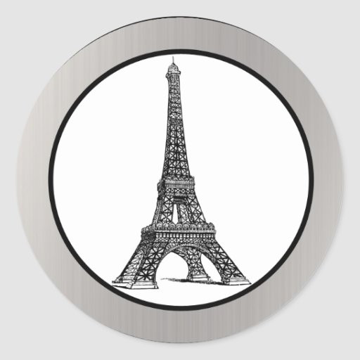 """20 - 1.5"""" Envelope Seal Black Eiffel Tower Round Sticker"""