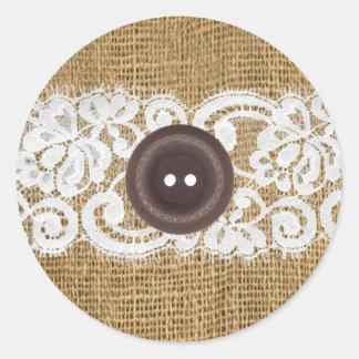 20 - 1 5 Envelope Seal Button Burlap Lace Round Sticker