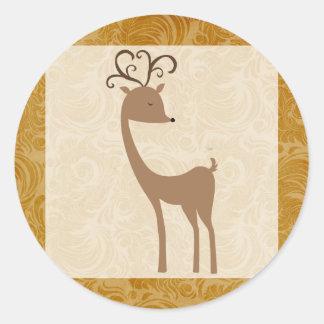 """20 - 1.5"""" Envelope Seal Elegant Reindeer Golden Sc Round Sticker"""