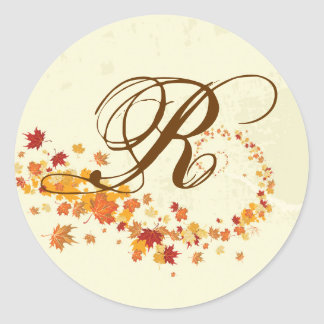 20 - 1.5  Envelope Seal Fall Breeze Autumn Leaves Round Sticker