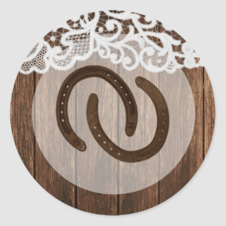 20 - 1.5  Envelope Seal Horse Shoes on Barn Wood Round Sticker
