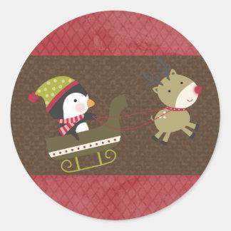 "20 - 1.5"" Envelope Seal Penguin / Reindeer Christm Round Sticker"