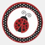 "20 - 1.5"" Envelope Seal Red Ladybug Round Sticker"