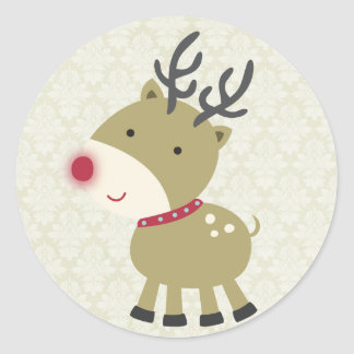 """20 - 1.5"""" Envelope Seal Reindeer Round Sticker"""