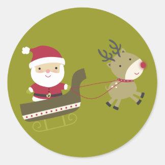 """20 - 1.5"""" Envelope Seal Santas Coming to Town Round Sticker"""