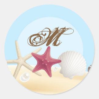 20 - 1.5  Envelope Seal Sea Shells Beach Sand Ocea Round Sticker