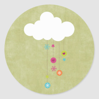 "20 - 1.5"" Envelope Seal Winter Cloud / Snowflakes Round Sticker"