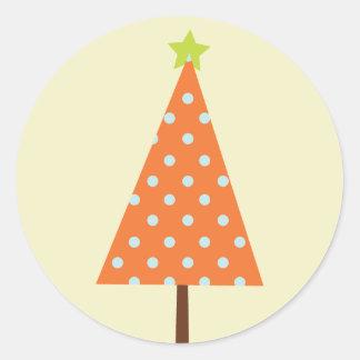 "20 - 1.5"" Envelope Seal Winter Orange Christmas Tr Round Sticker"